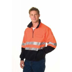 300gsm HiVis Two Tone 1/2 Zip Cotton Fleecy Wincheater with 3M