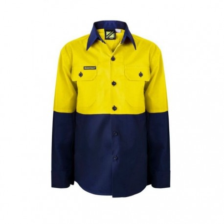 Kids Lightweight 2 Tone L/S Cotton Drill shirt - WSK127