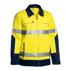3M TAPED TWO TONE HI VIS COTTON DRILL JACKET W- LIQUID REPELLENT FINISH - BJ6917T