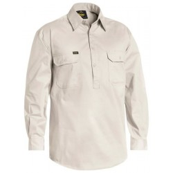 CLOSED FRONT COTTON LIGHT WEIGHT DRILL SHIRT - LONG SLEEVE - BSC6820