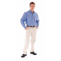155gsm Cotton Chambray Shirt, Twin Pocket, L/S - 4102