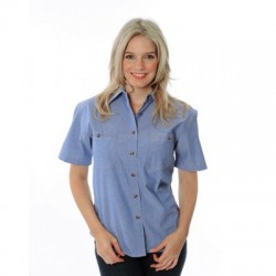 155gsm Ladies Cotton Chambray Shirt, S/S - 4105