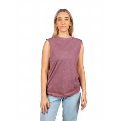 LADIES STONE WASHED SLEEVE LESS TEE - T406LD