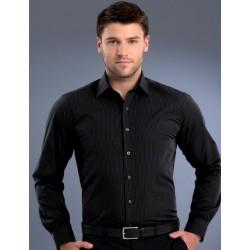 Mens Slim Fit L/S Dark Stripe Shirt - 836