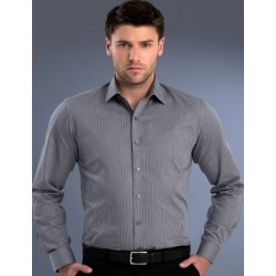 Mens Slim Fit L/S Pinstripe Shirt - 862