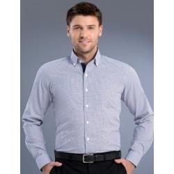 Mens Slim Fit L/S Square Check Shirt - 876