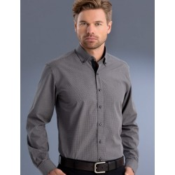 Mens Slim Fit L/S Small Check Shirt - 874