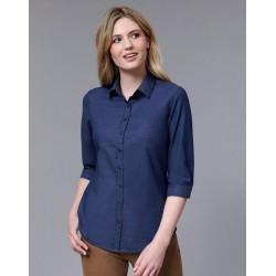 Ladies Dot Jacquard Stretch 3/4 Sleeve Ascot Shirt. - M8400Q