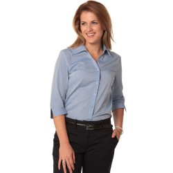 Womens Fine Chambray 3/4 Sleeve Shirt - M8013