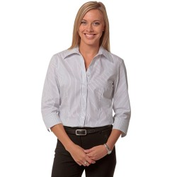 Womens Ticking Stripe 3/4 Sleeve Shirt - M8200Q