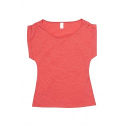 Ladies Wide And Distressed Rib Neck Tee - T915LD