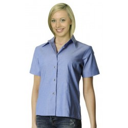 Ladies Wrinkle Free Short Sleeve Cham- bray Shirts - BS05