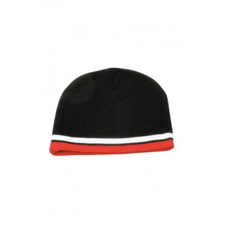 Knitted 100% acrylic with contrast stripes beanie - CH63