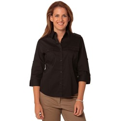 Womens 3/4 Sleeve Military Shirt - M8913