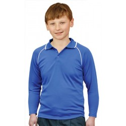Kids CoolDry Raglan Long Sleeve Contrast Colour Polo - PS43K