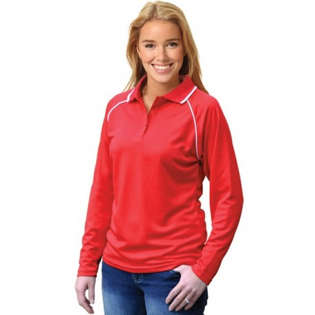 Ladies CoolDry Raglan Long Sleeve Contrast Colour Polo - PS44