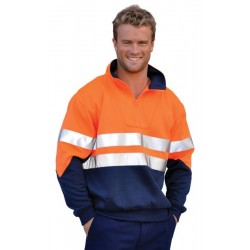 Mens High Visibility Long Sleeve Fleecy Sweat With Collar and 3M Tapes - SW14