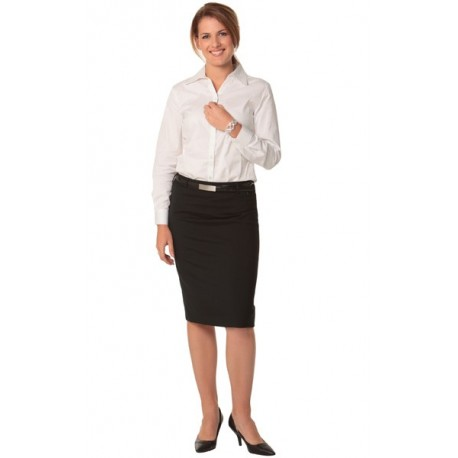 Womens Wool Stretch Mid Length Lined Pencil Skirt - M9470