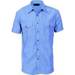 155gsm Cotton Chambray Shirt, Twin Flap Pocket, S/S - 4103