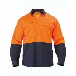 2 Tone Closed Front Hi Vis Drill Shirt - Long Sleeve - BSC6267