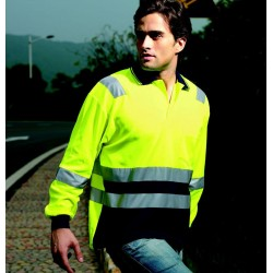HI-VIS POLYFACE/COTTON BACK POLO WITH TAPE -L/S - SP0537
