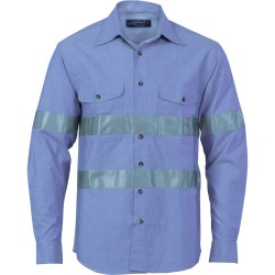 155gsm HiVis Chambray Shirt with Generic R/Tape, L/S - 3889