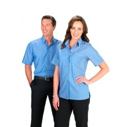 Ladies Short Sleeve Wrinkle Free Chambray Shirt - LB6200