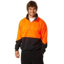 Men's High Visibility Long Sleeve Fleecy Sweat With Collar - SW13A