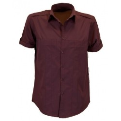 Men's Short Sleeve Shirt with Concealed Pockets & Tab on Sleeve - W35