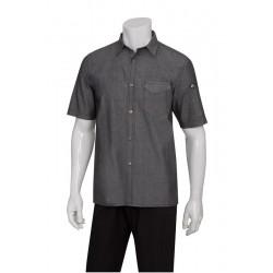 Black Denim Detroit Short Sleeve Shirt - SKS002
