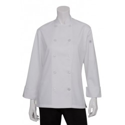 Womens's White Basic Chef Jacket w/ Flat Plastic Buttons - BCW004