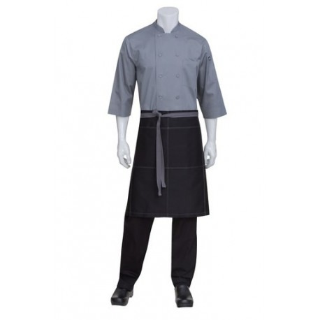 Black 1/2 Apron With Contrast Ties and Stitching - AW034