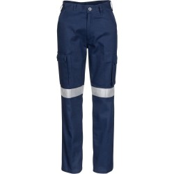 Ladies Cotton Drill Cargo Pants with 3M R/ Tape - 3323
