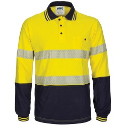 HiVis Segment Taped Cotton Jersey Polo- Long Sleeve - 3516