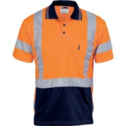 175gsm HiVis D/N Cool Breathe Polo Shirt with Cross Back & additional CSR R/Tape on Back, S/S - 3712