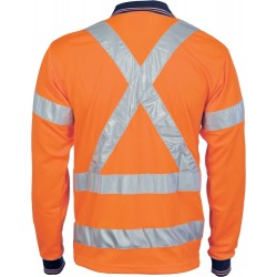 HiVis D/N Cool Breathe Polo Shirt with Cross Back R/Tape L/S - 3714
