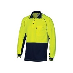 HiVis Cotton Backed Cool-Breeze Contrast Polo L/S - 3720
