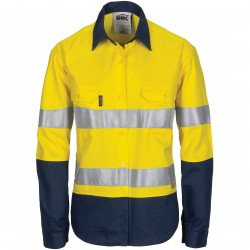 Ladies HiVis 3 Way Cool-Breeze Cotton Shirt with Gusset Sleeve, 3M R/Tape- Long Sleeve - 3749