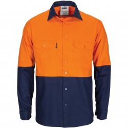 HiVis R/W Cool-Breeze T2 Back Vertical Vented Cotton Shirt with Gusset Sleeve- L/S - 3781