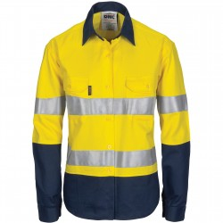 Ladies HiVis Cool-Breeze Cotton Shirt with CSR R/Tape - Long Sleeve - 3786