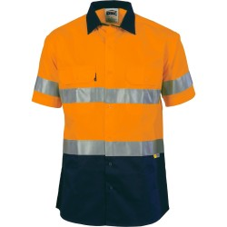 HiVis Two Tone Drill Shirt With 3M8906 R/Tape, S/S - 3833