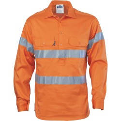 HiVis Closed Front Cotton Drill Shirt with3M8906 R/Tape, L/S - 3848