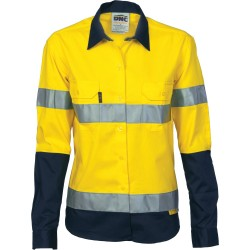 Ladies HiVis Two Tone Cotton Drill Shirt with 3M8906 R/Tape, L/S - 3936
