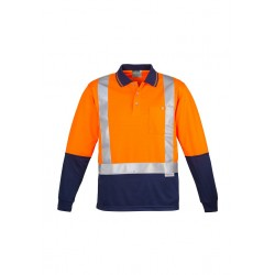Hi Vis Spliced L/S Polo - Shoulder Taped - ZH234