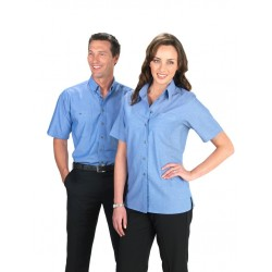 Mens Short Sleeve Wrinkle Free Chambray Shirt - SH113