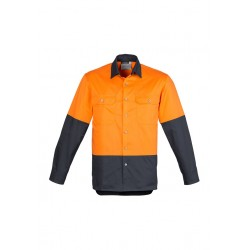 Mens Hi Vis Spliced Industrial Shirt Orange/Charcoal - ZW122