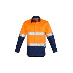 Mens Hi Vis Spliced Industrial Shirt Orange/Navy - Hoop Taped - ZW123