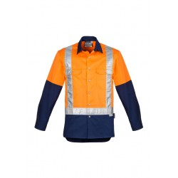 Mens Hi Vis Spliced Industrial Shirt Orange/Navy - Shoulder Taped - ZW124