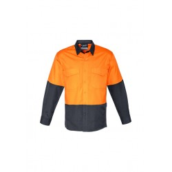 Mens Rugged Cooling Hi Vis Spliced Shirt Orange/Charcoal - ZW128