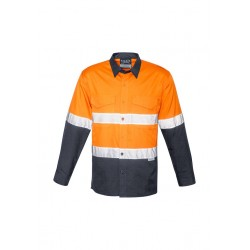 Unisex Hi Vis Spliced Rugged Shirt Orange/Charcoal - Hoop Taped - ZW129